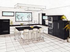 Perspectives/ dessin de cuisines réalisé à la main