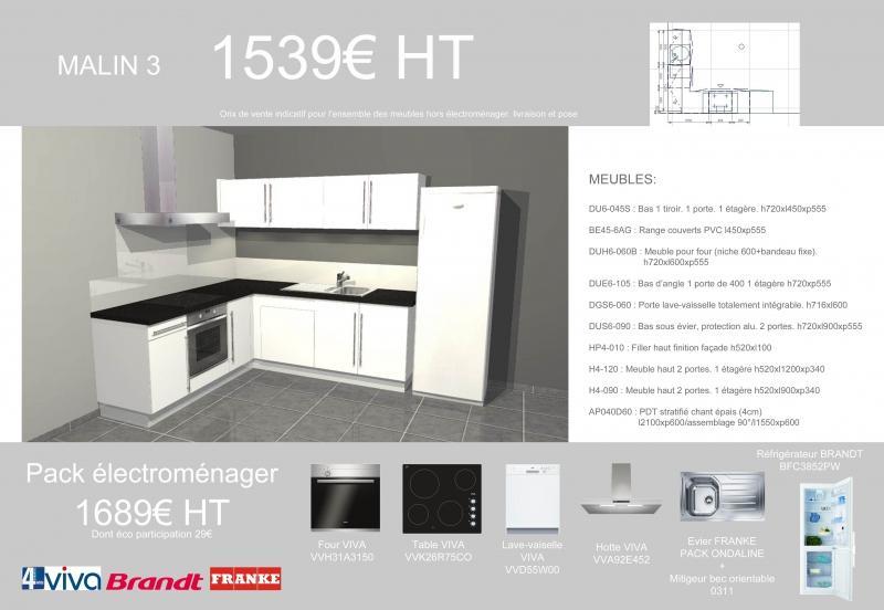 Idéal dans un logement Locatif cette cuisine en L avec un pack électro pour un petit prix !